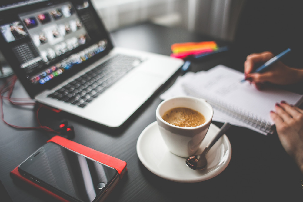 Laptop and Coffee on Desk